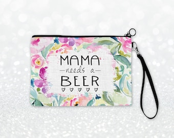 Mama Needs A Beer Floral Cosmetic Bag