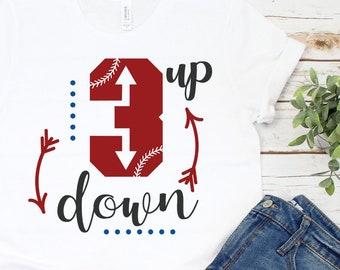 da88bc71 Three Up/ Three Down/ Baseball Shirt/ Bases Loaded/ Baseball Mom/ Tball  Mom/ Short-Sleeve Unisex T-Shirt/ Three Strikes/ Cute Baseball Shirt
