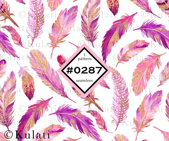 INSTANT DOWNLOAD Pink and white feather pattern seamless pattern bohemian boho pattern glitter feather pattern digital paper