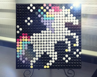 Sequin art kit etsy unicorn sequin pixel art kit do it yourself wall art solutioingenieria Gallery