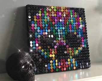 Sequin art kit etsy skull sequin pixel art kit do it yourself wall art solutioingenieria Gallery