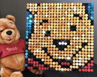Sequin art kit etsy winnie the pooh sequin pixel art kit do it yourself wall art solutioingenieria Gallery