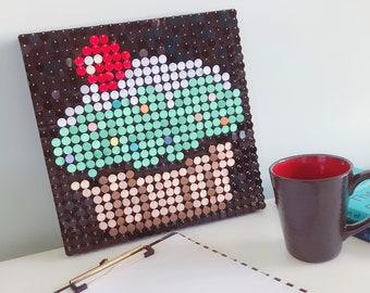 Sequin art kit etsy cupcake sequin pixel art kit do it yourself wall art solutioingenieria Gallery