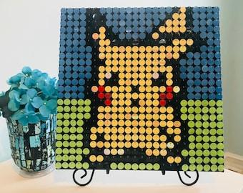 Sequin art kit etsy pikachu sequin pixel art kit do it yourself wall art solutioingenieria Gallery