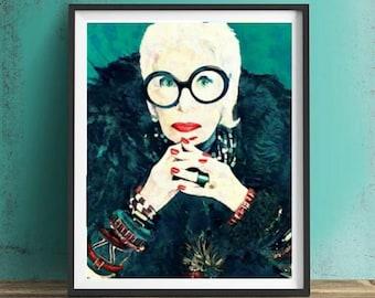 Iris Apfel Wall Art, Canvas, Artwork, Art Print, Home Decor, Gift