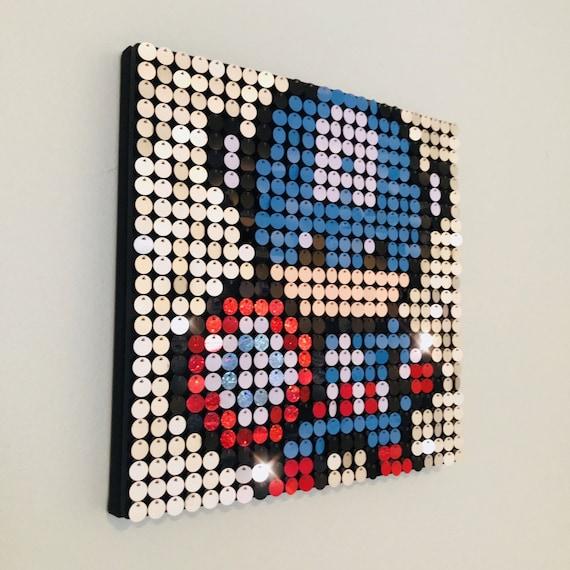 Captain america sequin pixel art kit do it yourself wall art etsy image 0 solutioingenieria Gallery