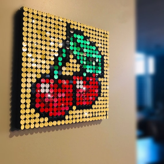 Cherries Sequin Pixel Art Kit Do It Yourself Wall Art