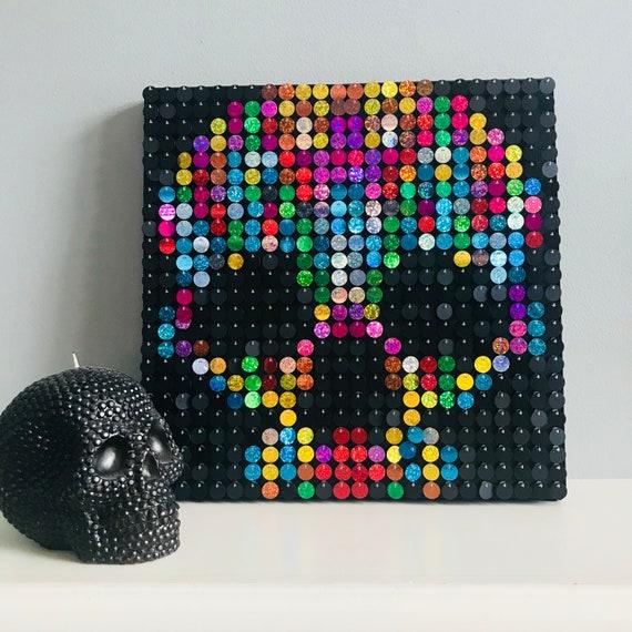 Tête De Mort Sequin Pixel Art Kit Art Mural Bricolage