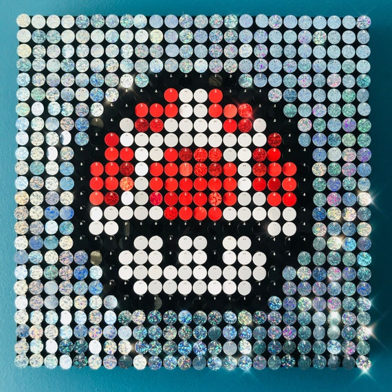 Super Mario Mushroom Sequin Pixel Art Kit Do It Yourself Wall Art