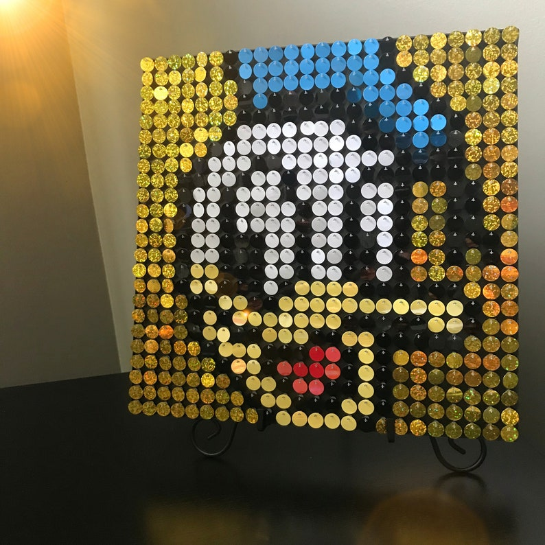 Donald Duck Sequin Pixel Art Kit Do It Yourself Wall Art