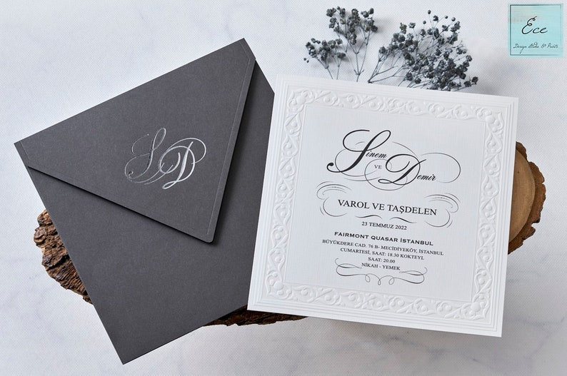 Wedding Invitation  Elegant Classic Style Invitation has Glyph Pattern  Liner on it  Luxury Look with Silver Foil Monogram on Envelope