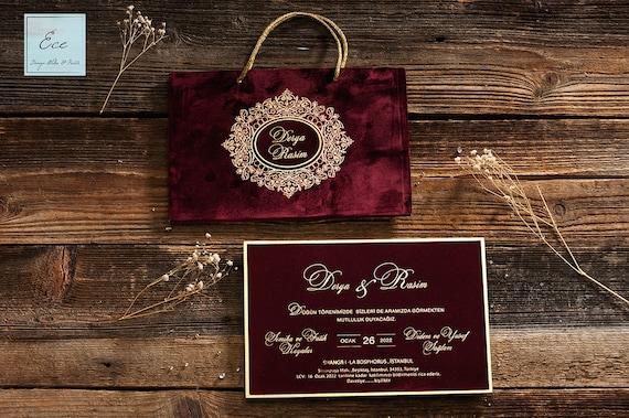 Velvet Wedding Invitations: Wedding Invitation. Luxury Red Velvet Invitation With Bag