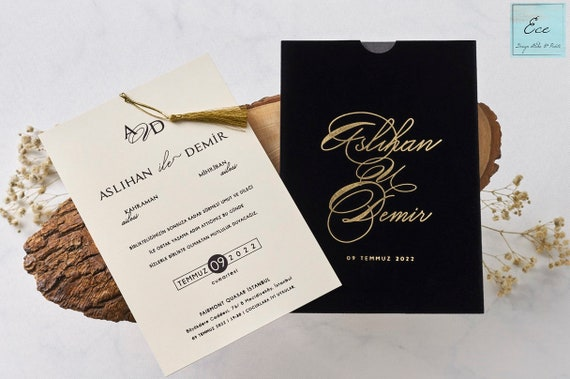 Wedding Invitation Luxury Black Velvet Envelope With Stylish Gold Foil Text Stylish And Elegant Invitation With Gold Tasel