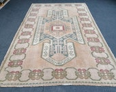 Muted Soft Colors Rug Vintage Rug Turkish Oushak Rug Rustic Unsual Tribal Rug Retro Style Rug Traditional Turkish Design 7 39 5x4 39 11 feet