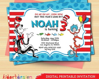 Digital personalize Dr Seuss Birthday Invitation. Dr Seuss Birthday Cards. Boy Birthday Invitation