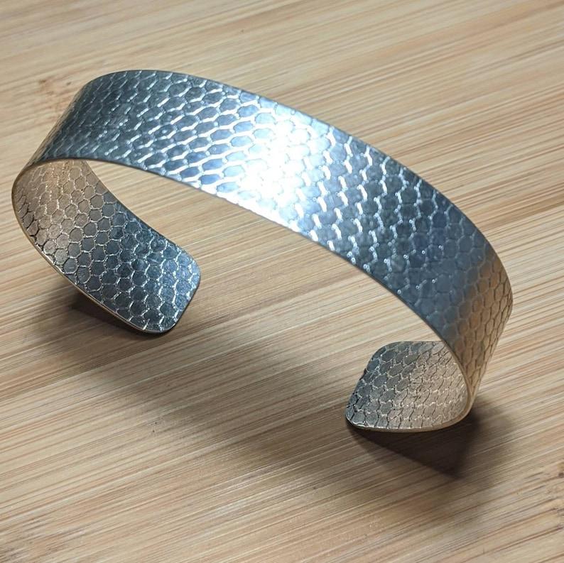 Textured silver cuff bracelet handmade snake sterling silver hallmarked 925