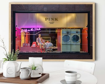 Pink, Store Window, Wes Anderson Design, Nyc Photography, Millenial Pink, Quotes about life, Manhattan Photos, Pink Wall Decor, home decor