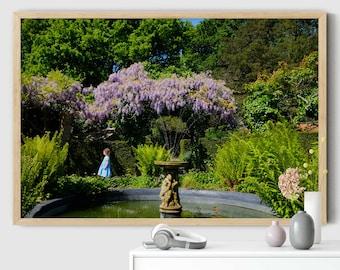 Alice in wonderland wall art, alice in wonderland print, garden photo, london print, london poster, nursery decor, large wall art