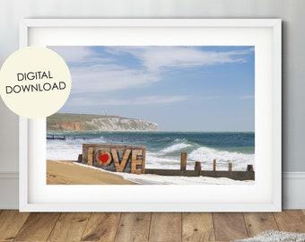 Love Sign Digital Download, Beach Photo, Romantic, Seascape Print, Coastal Decor, Sandown Beach, Isle of wight, iow