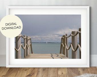 Beach Digital Download, Sailing Photo, Osborne Beach, Seascape Print, Sailboat Print, Isle of Wight, Nautical Print, Sailing Photography