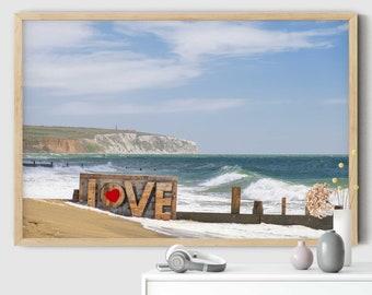 Love Sign, Beach Photo, Seascape Print, Romantic, Coastal Decor, Sandown Beach, Isle of wight, iow