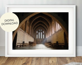 Church Digital Download, Quarr Abbey, Church Wall Art, Monastery Photo, Isle of Wight poster, Architecture Print, IOW Photography