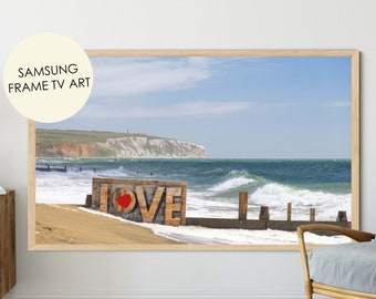 Beach Photography, Samsung Frame TV Art, Love Sign, Romantic, Seascape Print, Coastal Decor, Sandown Beach, Isle of wight, iow