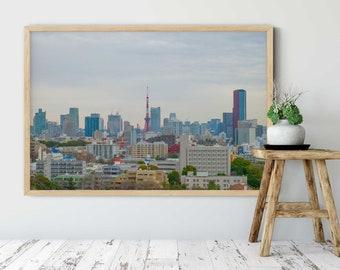 Tokyo Print, Tokyo Poster, Tokyo Tower, Tokyo Photo, Tokyo Cityscape, Skyline, Urban Photography, Office Wall Art, Oversized Wall Art