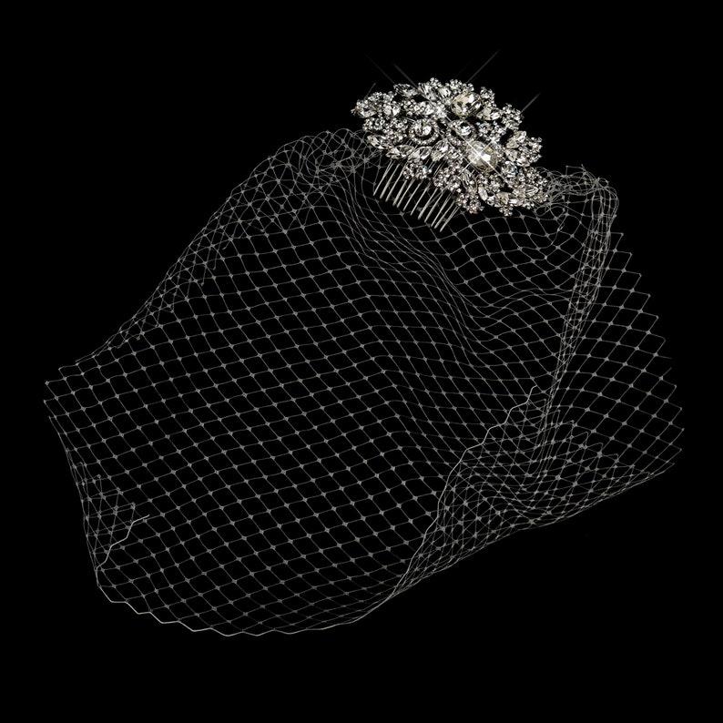 Vintage Antique Multi Crystal Wedding Bridal Comb with White Birdcage Veil