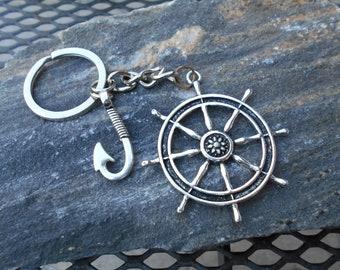 Schlüsselanhänger Angelhaken ⚓ Bronze Silber Angelhaken Keychain ⚓