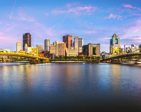 Pittsburgh Vibrant Sunset Panorama