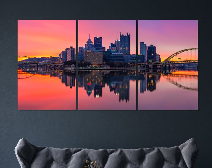 Triptych Photo of the Pittsburgh Skyline with an Amazing Sunrise