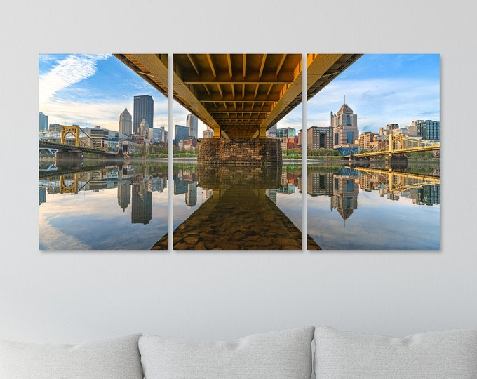 Pittsburgh Skyline from Under the Andy Warhol Bridge - Triptych Version