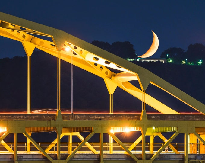 Photo of Pittsburgh - Fort Duquesne Bridge with Moon Setting on West End Overlook - Pittsburgh Print - Pittsburgh Photo Art