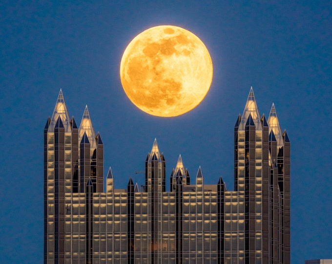 Pittsburgh Photo - Full Moon Over PPG Place - Pittsburgh Canvas and Metal Prints - Pittsburgh Skyline Photo