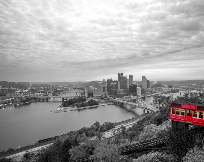 Pittburgh Skyline with Incline - Selective Color