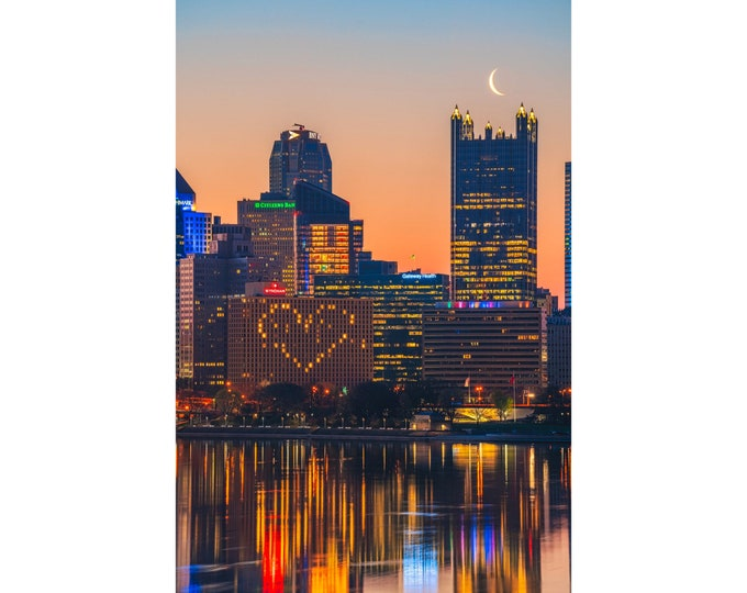 Pittsburgh Skyline with Moon over PPG Place Photo Print