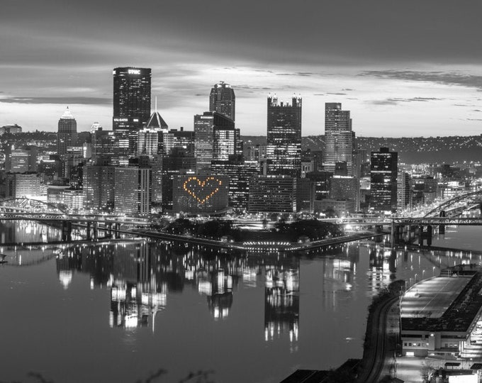 Pittsburgh Photograph - Pittsburgh Hearts Black and White Panorama