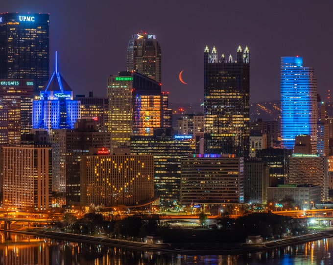 Pittsburgh Skyline Photo with Red Crescent Moon
