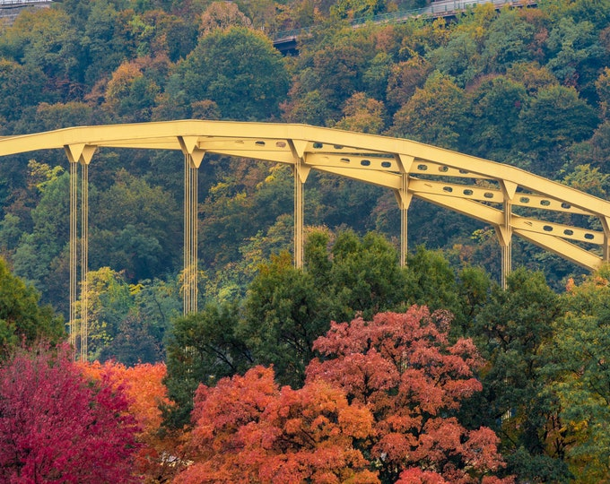 Pittsburgh Photo - The Fort Pitt Bridge and St. Mary of the Mount In Fall - Pittsburgh Fall Foliage