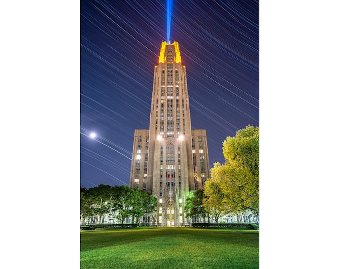 University of Pittsburgh Photo - Cathedral of Learning Star Trails Print - University of Pittsburgh - Pitt Photo