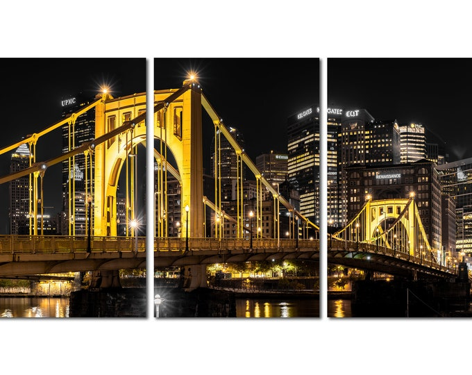 Photo of the Clemente Bridge and Pittsburgh Skyline (Triptych Version)