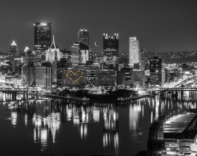 Pittsburgh Photo Print - Heart and Moon in the Pittsburgh Skyline