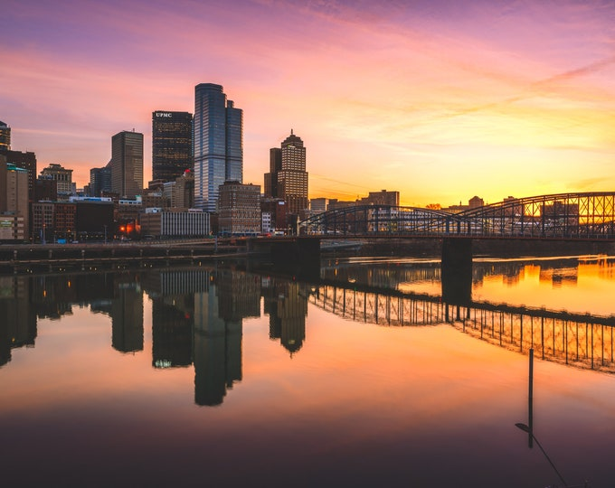 Pittsburgh Skyline Photo - Sunrise and The Mon - Pittsburgh Metal Prints - Pittsburgh Canvas Prints