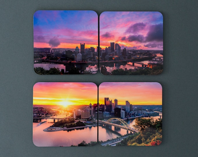 Pittsburgh Drink Coasters - Pittsburgh Sunrise Panorama - Pittsburgh Coasters