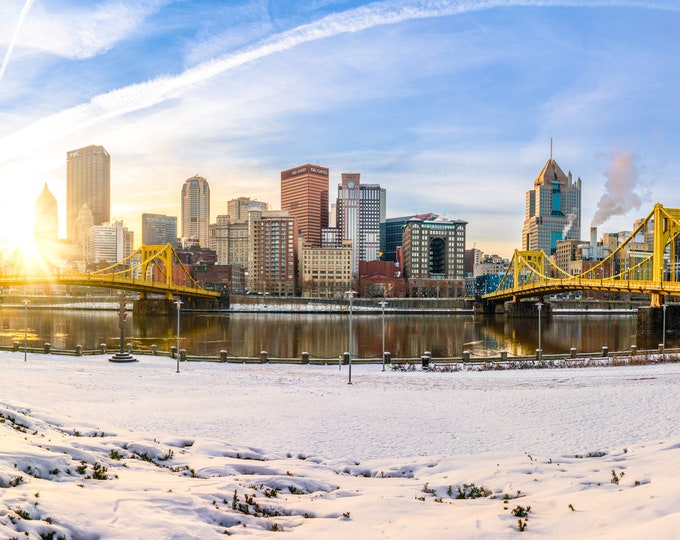 Pittsburgh Photo - Winter North Shore Panorama - Pittsburgh Art - Pittsburgh Skyline