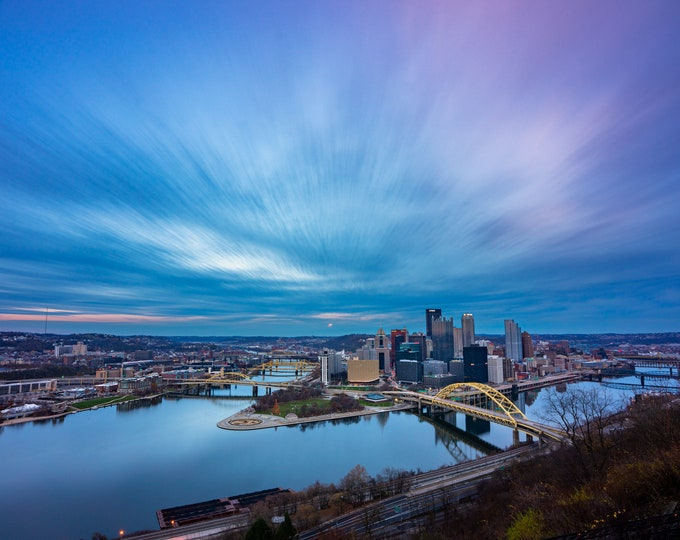 Pittsburgh Skyline Photo - A Brush Stroked Sky - Pittsburgh Art