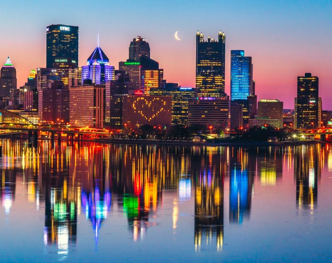Pittsburgh Skyline with Crescent Moon and Heart