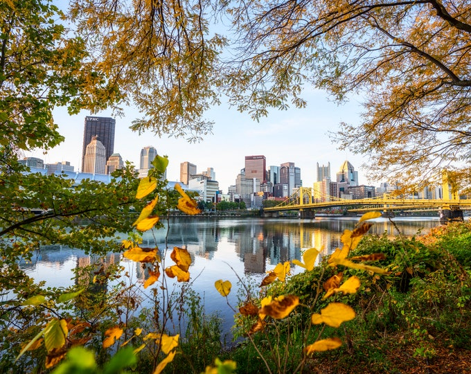 Pittsburgh Photo - Colorful Autumn Leaves Around Downtown Pittsburgh - Pittsburgh Photo Print - Pittsburgh Art