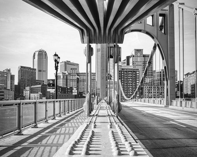 Warhol Bridge in Downtown Pittsburgh Black & White